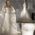 New arrival/A-line/Strapless/Satin&Chiffon/Chapel train/luxurious Bridal Wedding Dress/A1027