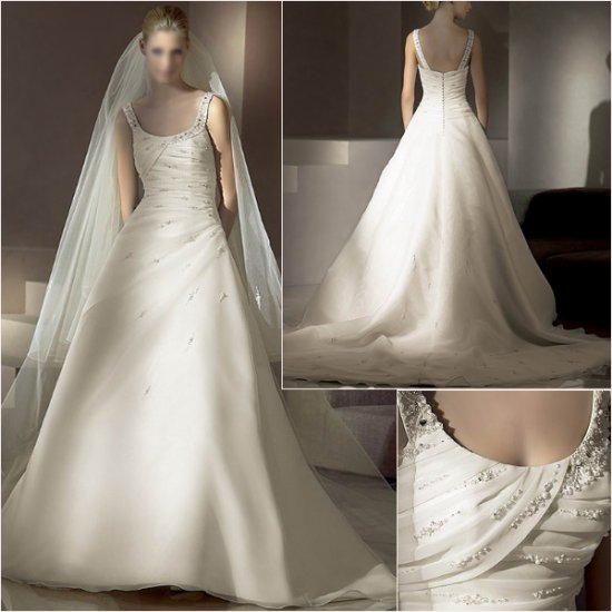 Free Shipping/2011 New arrival/A-line/Sleeveless/Satin&Organza/Chapel train/Wedding Gown /A1028
