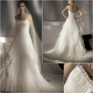 Free Shipping/2011 New arrival/A-line/Spaghetti/Satin&Organza/Chapel train/Bridal Dress/A1029