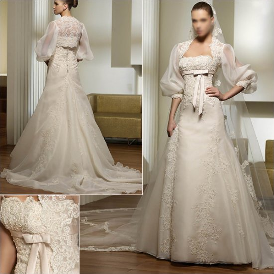 2011 New arrival/A-line/Strapless/Satin&Organza/Chapel train/luxurious Wedding Gown/A1031