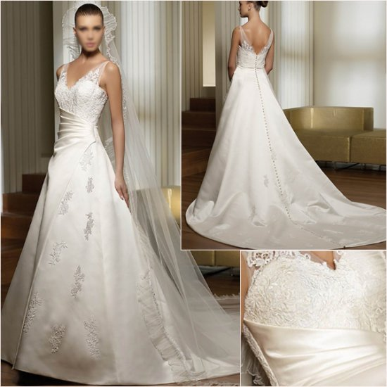 Free Shipping/2011 New arrival/A-line/Sweatheart/Satin/Chapel train/luxurious Wedding Dress/A1034