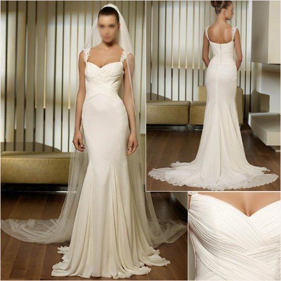 Free Shipping/2011 New arrival/A-line/Sweatheart/Chiffon/Chapel train/Wedding Dress/A1039