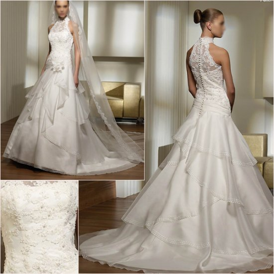 Free Shipping/2011 New arrival/A-line/Halter/Satin&Organza/Chapel train/Wedding Dress/A1044