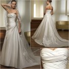 Free Shipping/2011 New arrival/A-line/Strapless/Satin/Chapel train/Wedding Dress/A1045