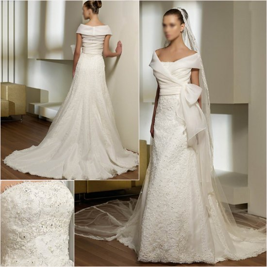 Free Shipping/2011 New arrival/A-line/Strapless/Satin/Chapel train/Wedding Dress/A1048
