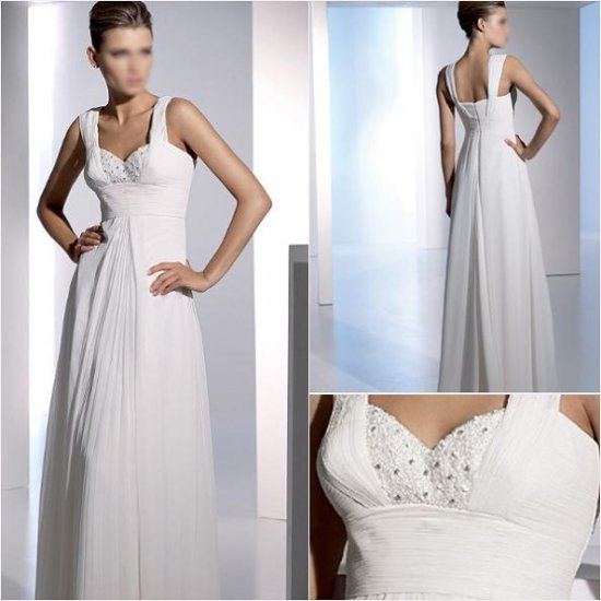 Free Shipping/2011 New arrival/A-line/Sleeveless/Chiffon/Floor length/Wedding Dress/A1052
