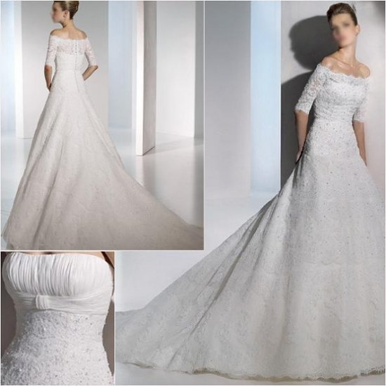 Hot selling/A-line/Short Sleeve/Satin&Lace/Floor length/luxurious Wedding Dress/A1053