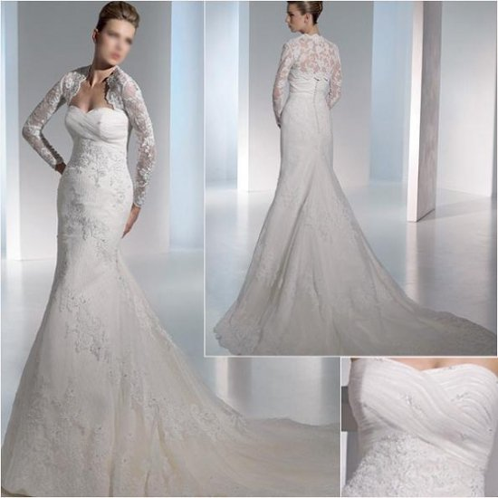 2011 New arrival/Mermaid/Satin&Organza/Chapel train/luxurious bridal gown with jacket/A1054