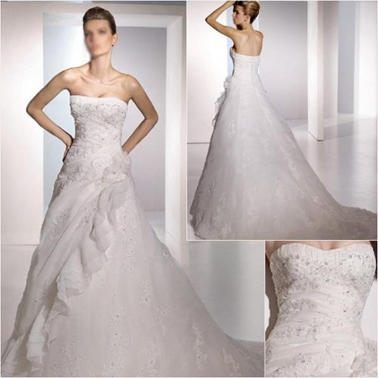 Free Shipping/2011 New arrival/A-line/A-line/Satin&Organza/Chapel train/Wedding Dress/A1055
