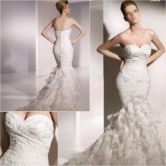 Free Shipping/2011 New arrival/Mermaid/A-line/Satin&Organza/Chapel train/Wedding Dress/A1056
