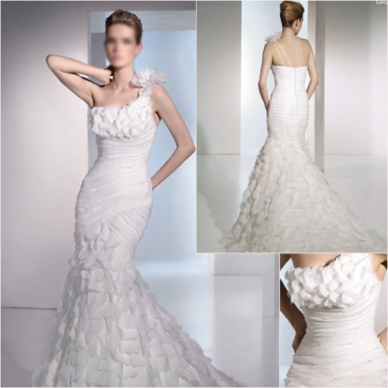 Free Shipping/2011 New arrival/Mermaid/One-Shoulder/Taffeta/Chapel train/Wedding Dress/A1057