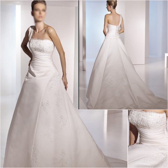 Free Shipping/2011 New arrival/A-line/One-Shoulder/Satin/Chapel train/Wedding Dress/A1058
