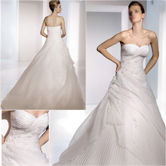 Free Shipping/2011 New arrival/A-line/Sweatheart/Satin&Organza/Chapel train/Wedding Dress/A1061