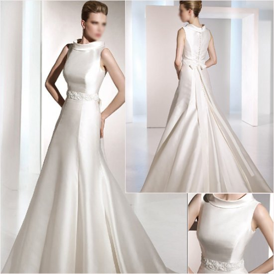 Free Shipping/2011 New arrival/A-line/Sleeveless/Satin/Chapel train/Wedding Dress/A1063