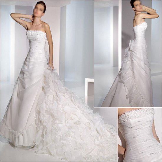 Free Shipping/2011 New arrival/A-line/Strapless/Satin&Organza/Chapel train/Wedding Dress/A1066