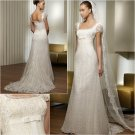 Free Shipping/2011 New arrival/A-line/Cap sleeve/Satin&Lace/Chapel train/Wedding Dress/A1036