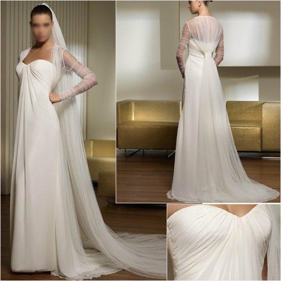 Free Shipping/2011 New arrival/A-line/Sweatheart/Satin&Chiffon/Chapel train/Wedding Dress/A1037