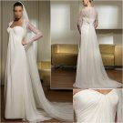 Free Shipping/2011 New arrival/A-line/Sweatheart/Satin&Chiffon/Chapel train/Wedding Dress/A1037
