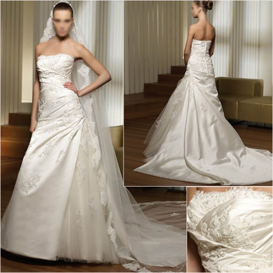 Free Shipping/2011 New arrival/A-line/Strapless/Satin&Mesh/Chapel train/Wedding Dress/A1040