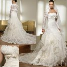 Free Shipping/2011 New arrival/A-line/Stapless/Satin&Lace/Chapel train/Wedding Dress/A1042