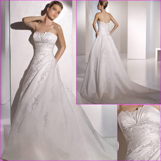 Free Shipping/2011 New arrival/A-line/Strapless/Satin/Chapel train/Wedding Dress/A1076