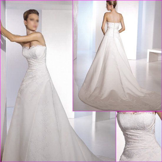 Free Shipping/2011 New arrival/A-line/Strapless/Satin/Chapel train/Wedding Dress/A1077