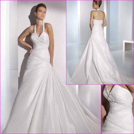 Free Shipping/2011 New arrival/A-line/Halter/Taffeta/Satin/Chapel train/Wedding Dress/A1078