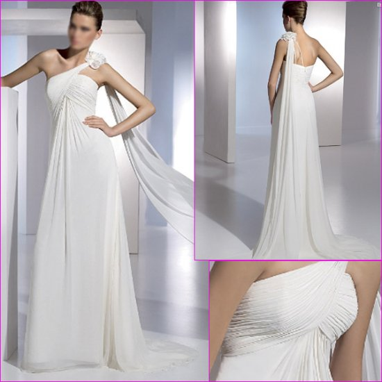 Free Shipping/2011 New arrival/A-line/One shoulder/Chiffon&Satin/Floor Length/Wedding Dress/A1080