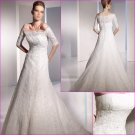 Free Shipping/A-line/Strapless/Satin&Lace/Chapel train/Wedding Dress with jacket/A1082