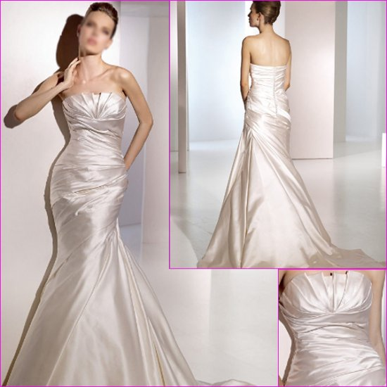 Free Shipping/2011 New arrival/Mermaid/Straples/Satin/Chapel train/Wedding Dress/A1086