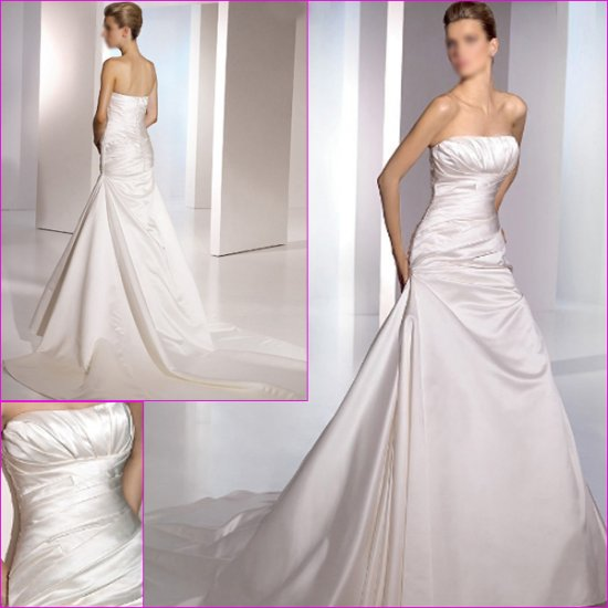 Free Shipping/2011 New arrival/A-line/Straples/Satin/Chapel train/Wedding Dress/A1087