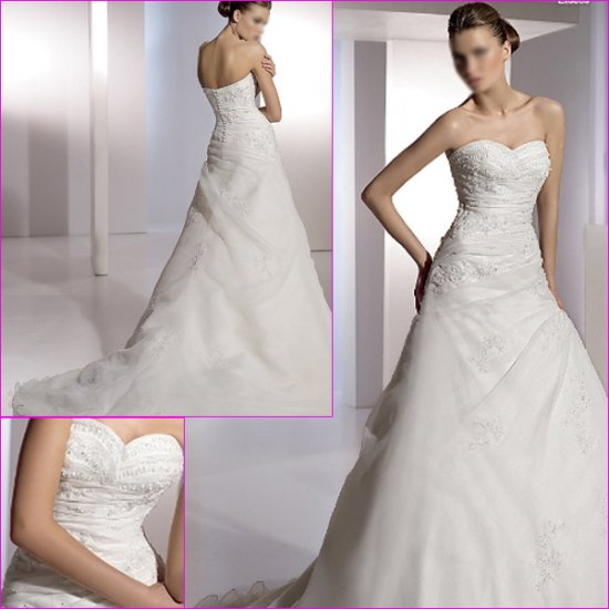 Free Shipping/2011 New arrival/A-line/Sweatheart/Satin&Organza/Chapel train/Wedding Dress/A1089