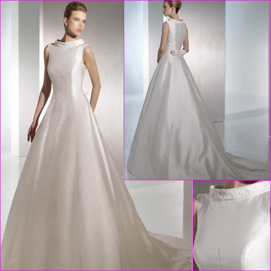 Free Shipping/2011 New arrival/A-line/Sleeveless/Satin/Chapel train/Wedding Dress/A1090