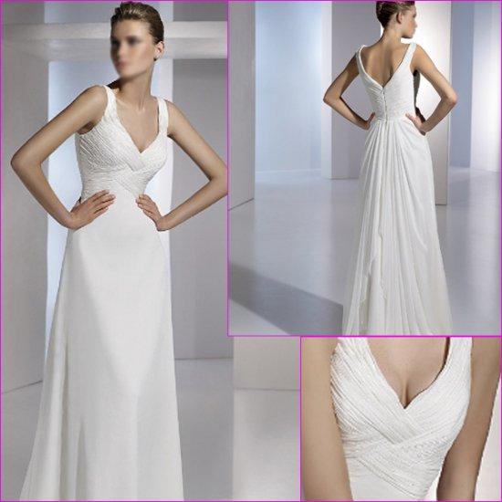 Free Shipping/2011 New arrival/A-line/Sleeveless/Chiffon/Floor Length/Wedding Dress/A1096