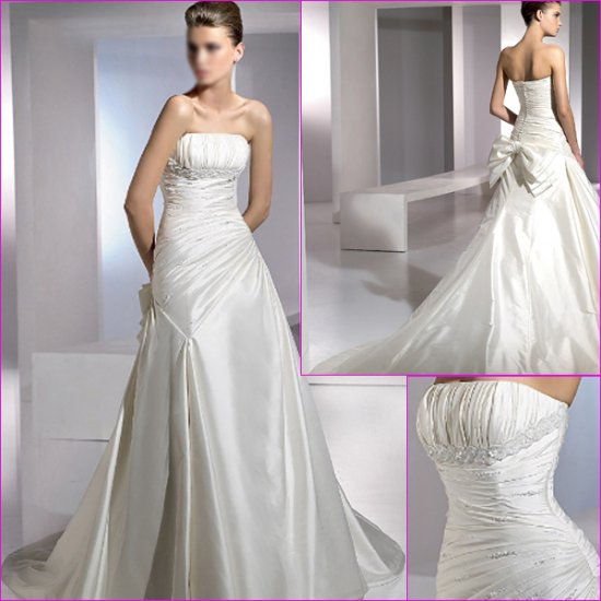 Free Shipping/2011 New arrival/A-line/Strapless/Satin/Chapel train/Wedding Dress/A1104