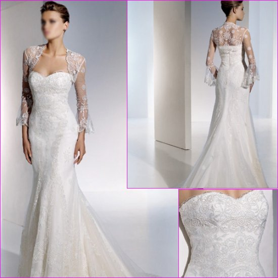 Free Shipping/2011 New arrival/Mermaid/Sweatheart/Satin&Lace/Chapel train/Wedding Dress/A1105