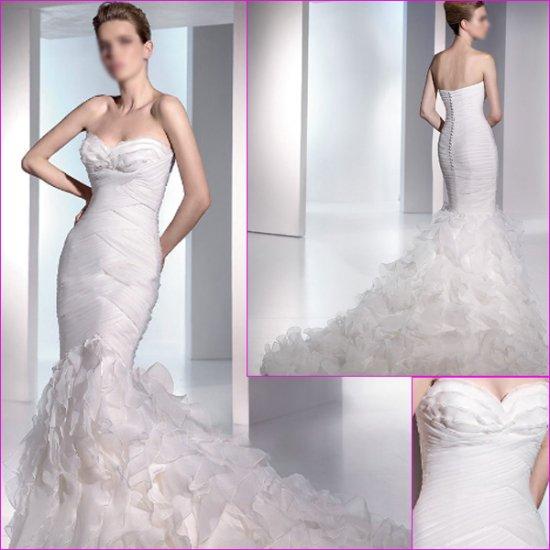 Free Shipping/2011 New arrival/Sheath/Sweatheart/Satin&Organza/Chapel train/Wedding Dress/A1109