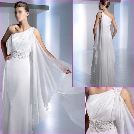 Free Shipping/2011 New arrival/A-line/One-shoulder/Chiffon/Chapel train/Wedding Dress/A1115