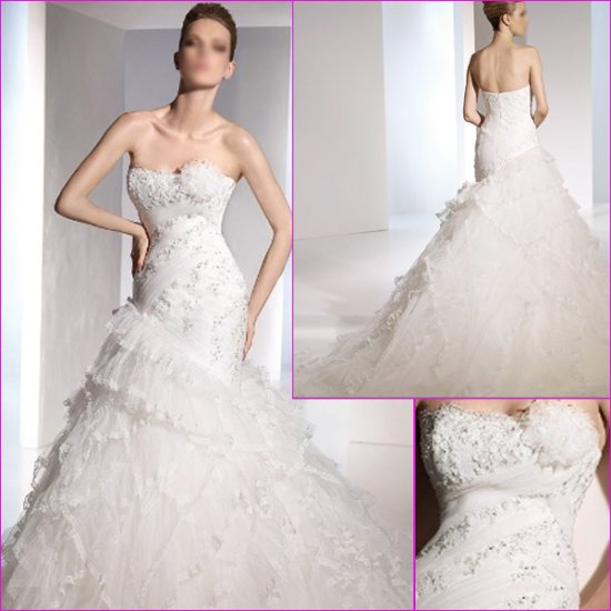Free Shipping/2011 New arrival/A-line/Sweatheart/Satin&Mesh/Chapel train/Wedding Dress/A1116