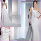 Free Shipping/2011 New arrival/A-line/Short sleeves/Satin&Lace/Chapel train/Wedding Dress/A1120