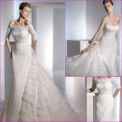 Free Shipping/2011 New arrival/Sheath/Spaghetti/Satin&Lace/Chapel train/Wedding Dress/A1121