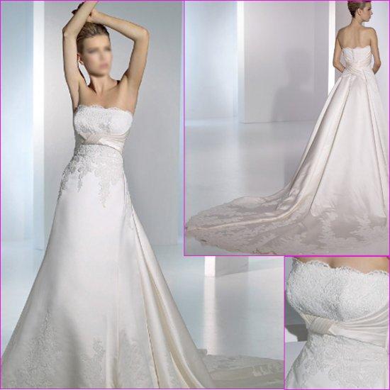 Free Shipping/2011 New arrival/A-line/Spaghetti/Satin/Chapel train/Wedding Dress/A1122