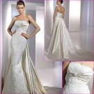 Free Shipping/2011 New arrival/Sheath/Strapless/Satin/Chapel train/Wedding Dress/A1123