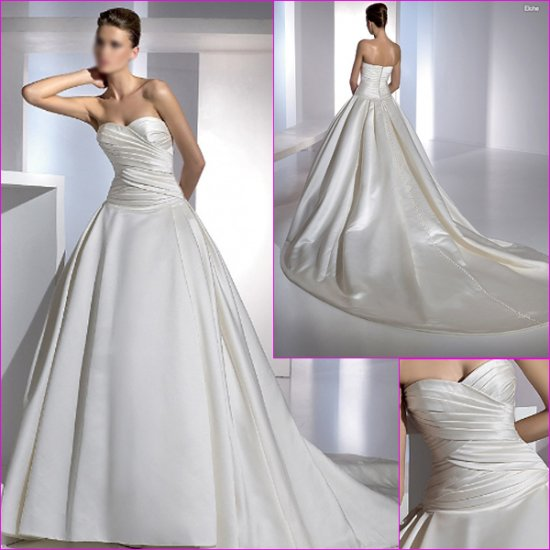 Free Shipping/2011 New arrival/A-line/Sweatheart/Satin/Chapel train/Wedding Dress/A1124