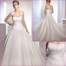 Free Shipping/2011 New arrival/A-line/Spaghetti/Satin/Chapel train/Wedding Dress/A1125