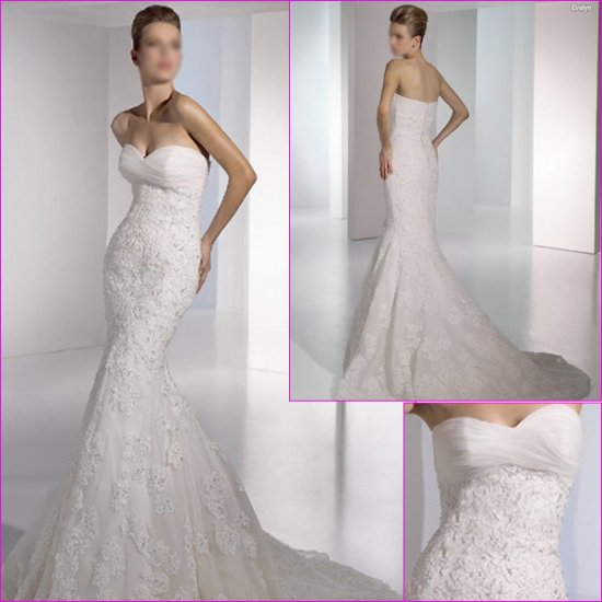 Free Shipping/2011 New arrival/Mermaid/Sweatheart/Satin&Lace/Chapel train/Wedding Dress/A1126