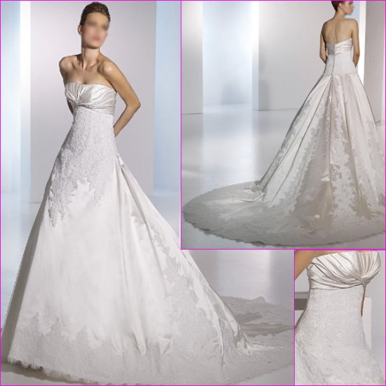Free Shipping/2011 New arrival/A-line/Strapless/Satin/Chapel train/Wedding Dress/A1131