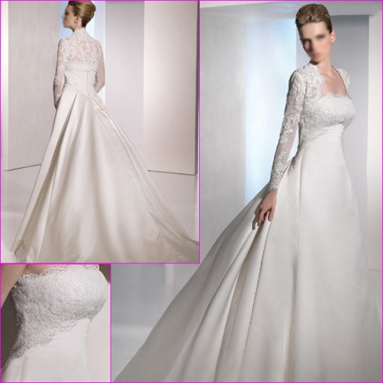 Free Shipping/2011 New arrival/A-line/Strapless/Satin/Chapel train/Wedding Dress/A1132