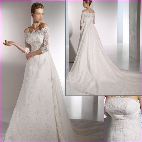 Free Shipping/2011 New arrival/A-line/Strapless/Satin&Lace/Chapel train/Wedding Dress/A1134