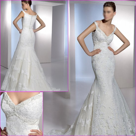 Free Shipping/2011 New arrival/Mermaid/Sleeveless/Satin&Lace/Chapel train/Wedding Dress/A1135